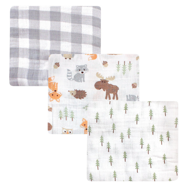 Hudson Baby Cotton Muslin Swaddle Blankets, Woodland 3-Pack