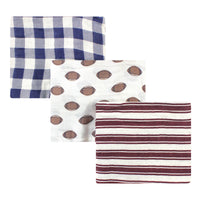 Hudson Baby Cotton Muslin Swaddle Blankets, Cream Football