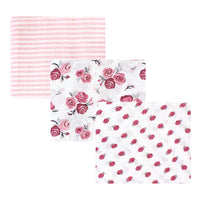 Hudson Baby Cotton Muslin Swaddle Blankets, Rose
