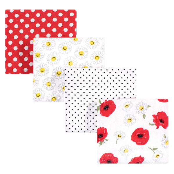 Hudson Baby Cotton Flannel Receiving Blankets, Poppy Daisy