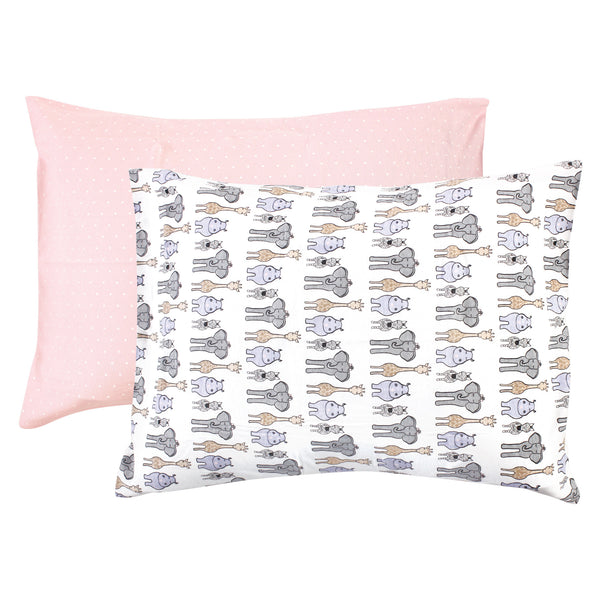 Hudson Baby Cotton Toddler Pillow Case, Pink Safari