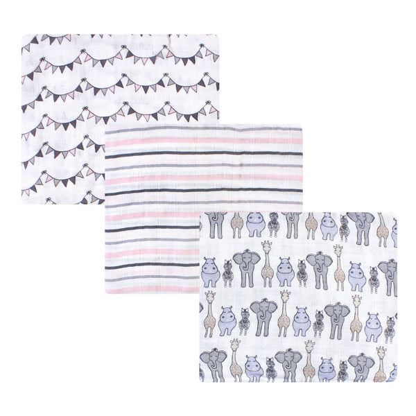 Hudson Baby Cotton Muslin Swaddle Blankets, Pink Safari