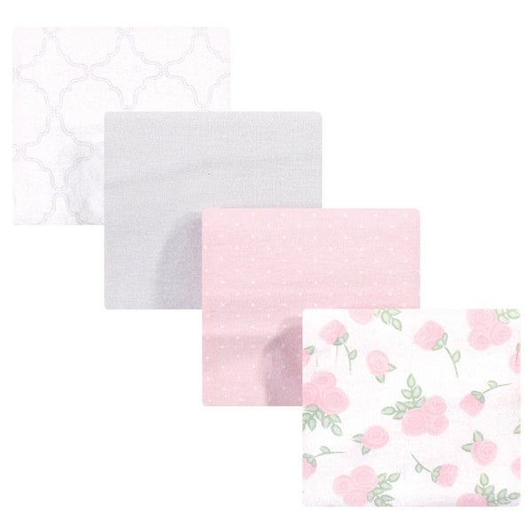 Hudson Baby Cotton Flannel Receiving Blankets, Gray Pink Rose