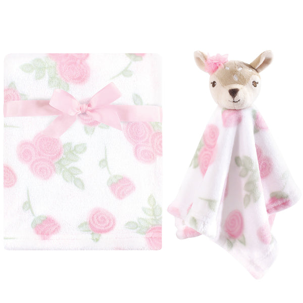 Hudson Baby Plush Blanket with Security Blanket, Fawn