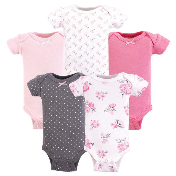 Hudson Baby Cotton Preemie Bodysuits, Basic Pink Floral Short-Sleeve