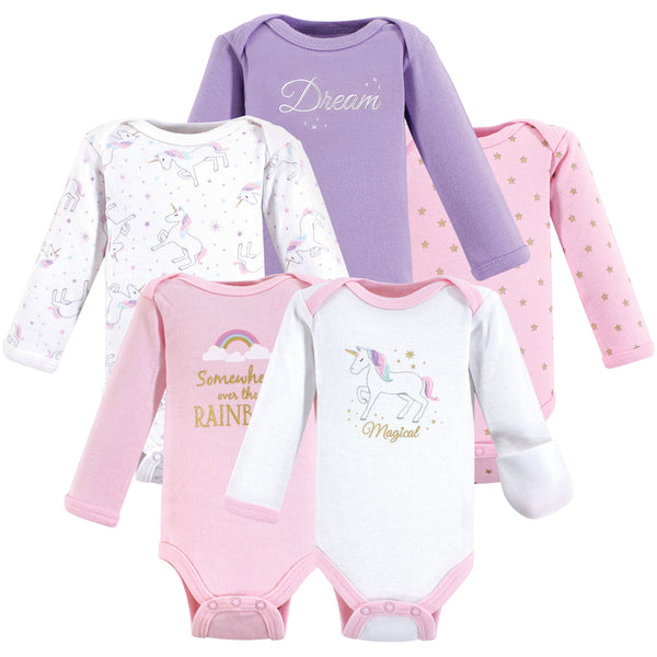 Hudson Baby Cotton Preemie Bodysuits, Magical Unicorn Long-Sleeve