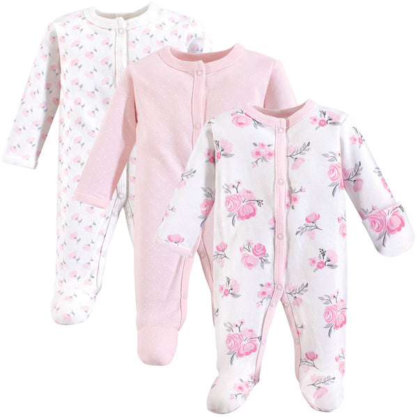 Hudson Baby Cotton Preemie Sleep and Play, Basic Pink Floral