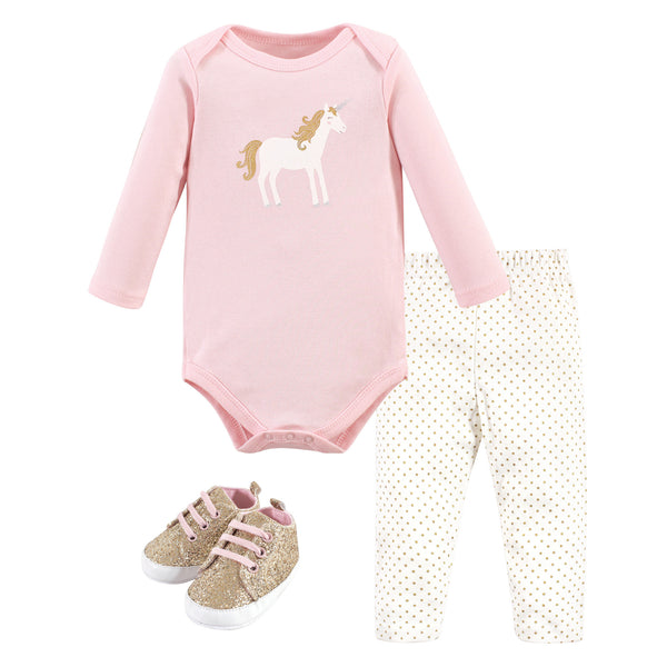 Hudson Baby Cotton Bodysuit, Pant and Shoe Set, Gold Unicorn