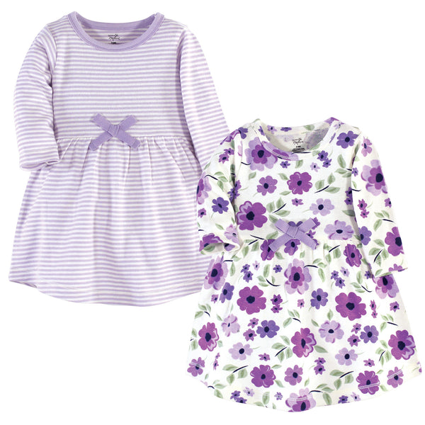 Touched by Nature Organic Cotton Short-Sleeve and Long-Sleeve Dresses, Baby Toddler Purple Garden Long Sleeve