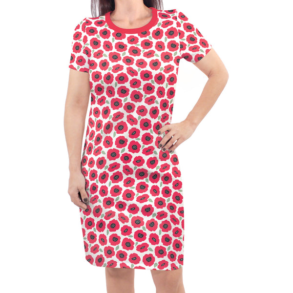 Touched by Nature Organic Cotton Short-Sleeve and Long-Sleeve Dresses, Women Poppy Short Sleeve