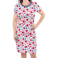 Touched by Nature Organic Cotton Short-Sleeve and Long-Sleeve Dresses, Women Garden Floral Short Sleeve