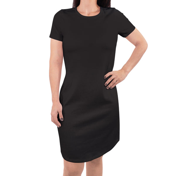 Touched by Nature Organic Cotton Short-Sleeve and Long-Sleeve Dresses, Women Black Short Sleeve