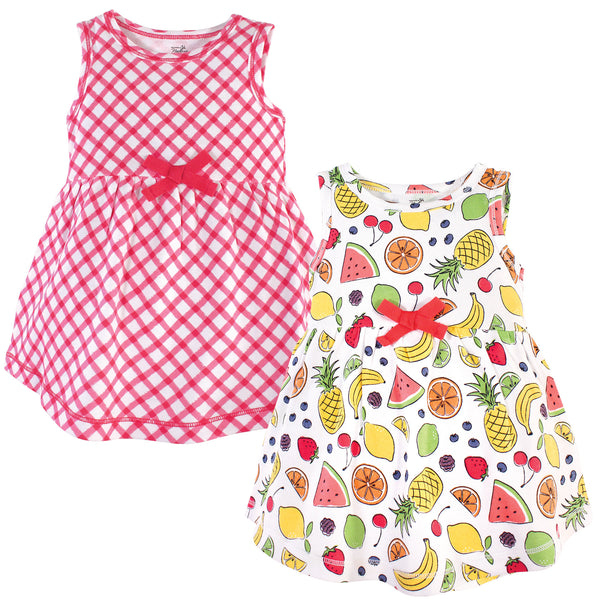 Touched by Nature Organic Cotton Short-Sleeve and Long-Sleeve Dresses, Baby Toddler Fruit Sleeveless