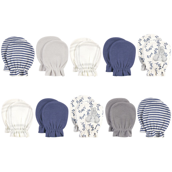 Touched by Nature Organic Cotton Scratch Mitten 10pk, Blue Elephant