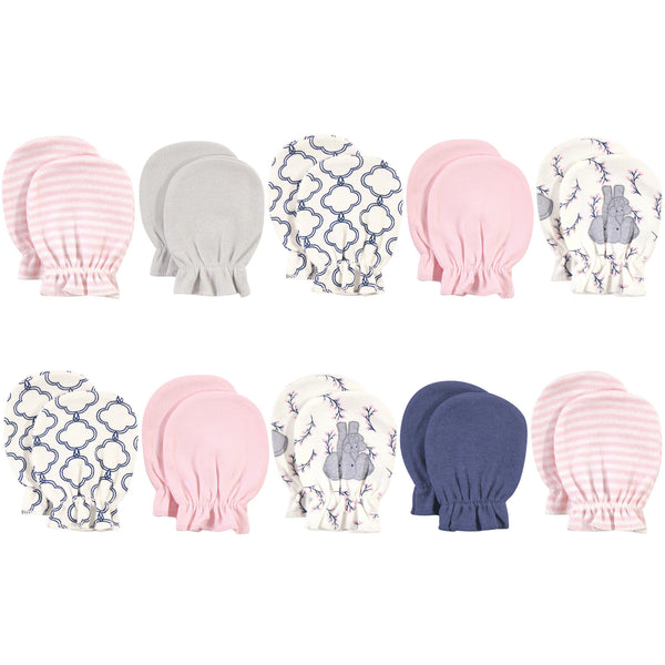 Touched by Nature Organic Cotton Scratch Mitten 10pk, Pink Elephant