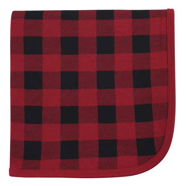 Touched by Nature Organic Cotton Swaddle, Receiving and Multi-purpose Blanket, Buffalo Plaid