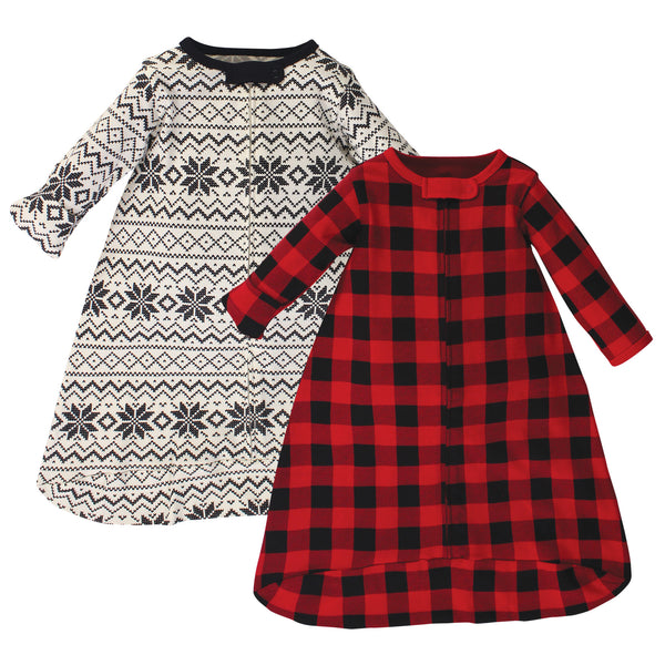 Touched by Nature Organic Cotton Long-Sleeve Wearable Sleeping Bag, Sack, Blanket, Buffalo Plaid