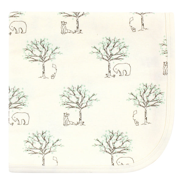 Touched by Nature Organic Cotton Swaddle, Receiving and Multi-purpose Blanket, Birch Trees