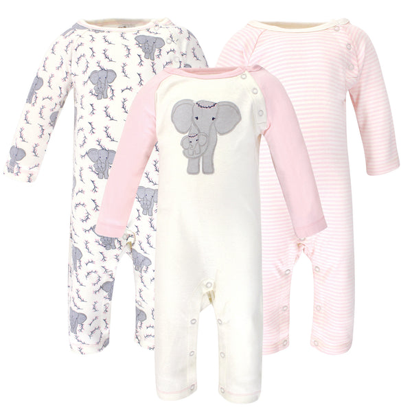 Touched by Nature Organic Cotton Coveralls, Girl Elephant