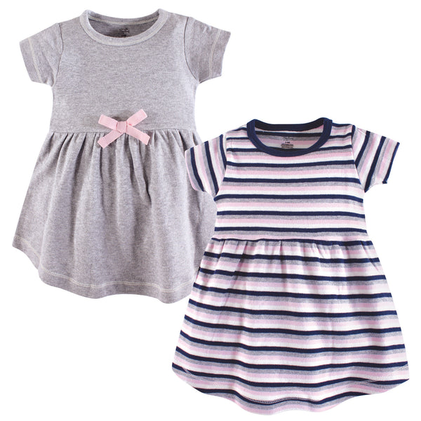 Touched by Nature Organic Cotton Short-Sleeve and Long-Sleeve Dresses, Baby Toddler Heather Gray Stripe Short Sleeve