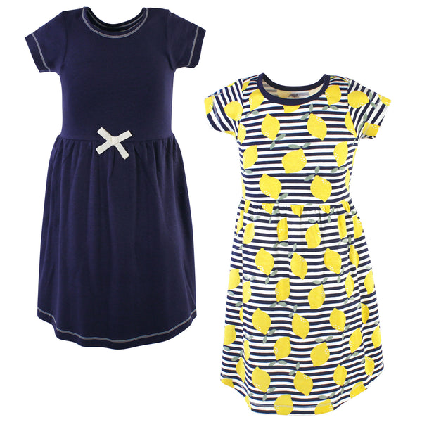 Touched by Nature Organic Cotton Short-Sleeve and Long-Sleeve Dresses, Youth Lemons Short Sleeve