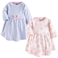 Touched by Nature Organic Cotton Short-Sleeve and Long-Sleeve Dresses, Baby Toddler Floral Shadow Long Sleeve