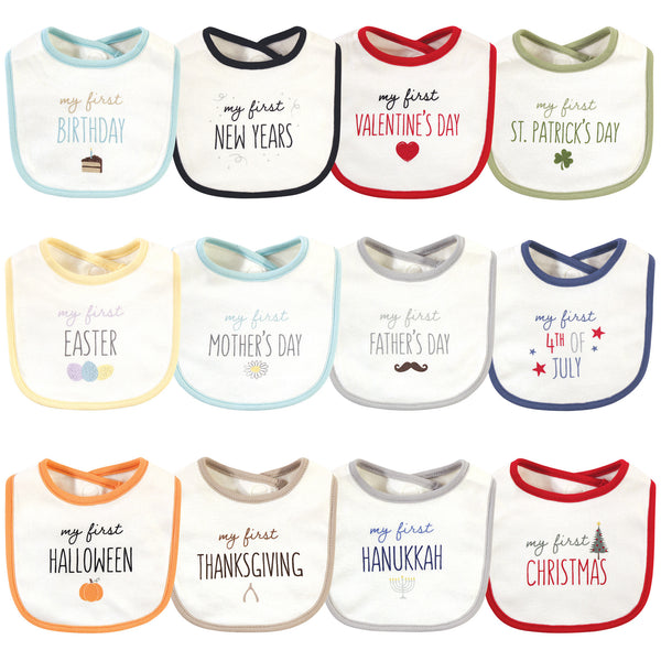 Touched by Nature Organic Cotton Bibs, Holiday Neutral