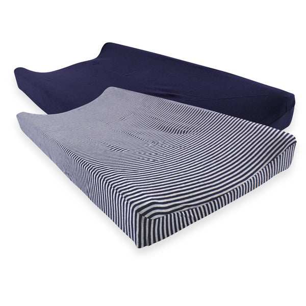 Touched by Nature Organic Cotton Changing Pad Cover, Navy Heather Gray