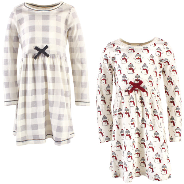 Touched by Nature Organic Cotton Short-Sleeve and Long-Sleeve Dresses, Youth Snowman Long Sleeve