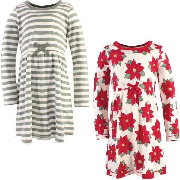 Touched by Nature Organic Cotton Short-Sleeve and Long-Sleeve Dresses, Youth Poinsettia Long Sleeve