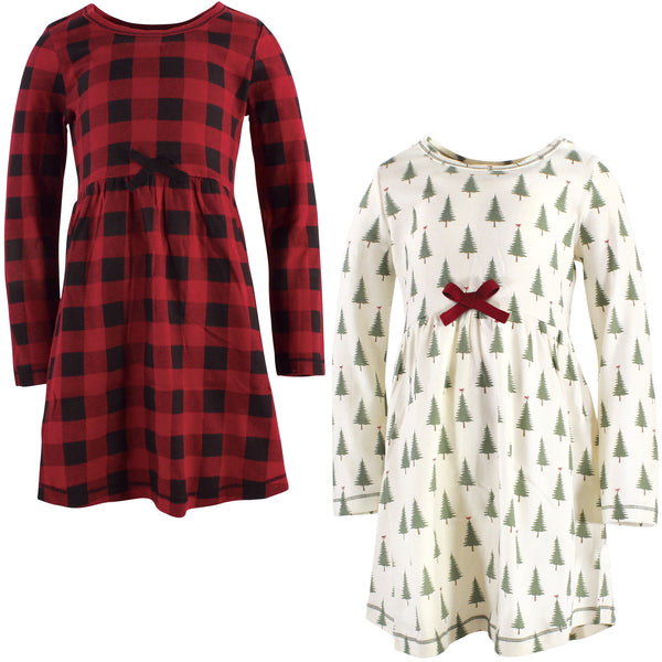Touched by Nature Organic Cotton Short-Sleeve and Long-Sleeve Dresses, Youth Tree Plaid Long Sleeve