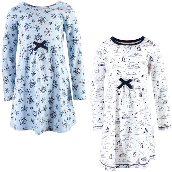 Touched by Nature Organic Cotton Short-Sleeve and Long-Sleeve Dresses, Youth Arctic Long Sleeve