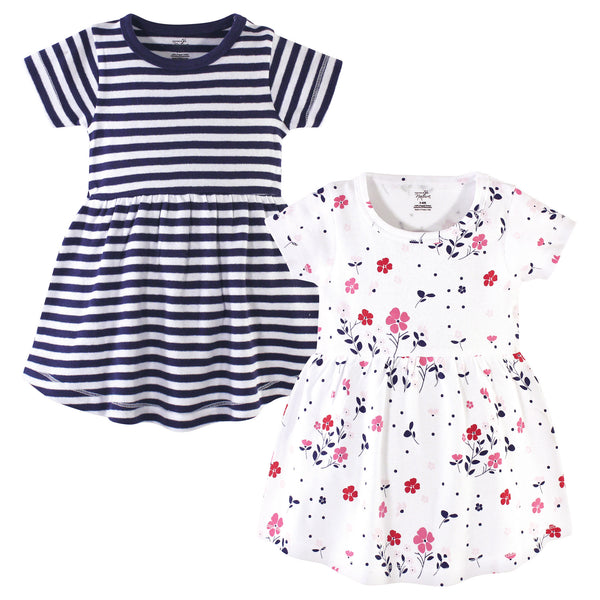 Touched by Nature Organic Cotton Short-Sleeve and Long-Sleeve Dresses, Baby Toddler Floral Breeze Short Sleeve