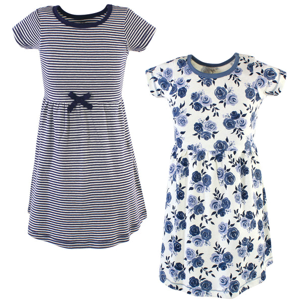 Touched by Nature Organic Cotton Short-Sleeve and Long-Sleeve Dresses, Youth Navy Floral Short Sleeve