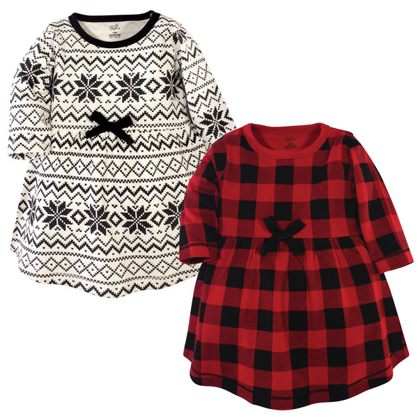 Touched by Nature Organic Cotton Short-Sleeve and Long-Sleeve Dresses, Youth Buffalo Plaid Long Sleeve