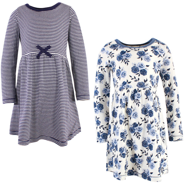Touched by Nature Organic Cotton Short-Sleeve and Long-Sleeve Dresses, Youth Navy Floral Long Sleeve