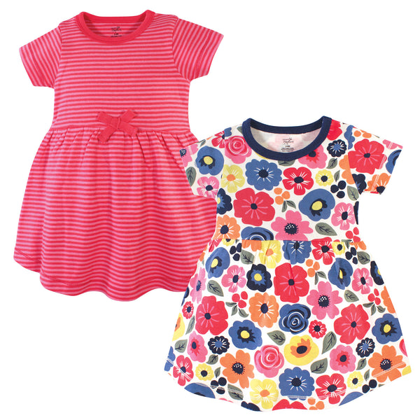 Touched by Nature Organic Cotton Short-Sleeve and Long-Sleeve Dresses, Baby Toddler Bright Flower Short Sleeve
