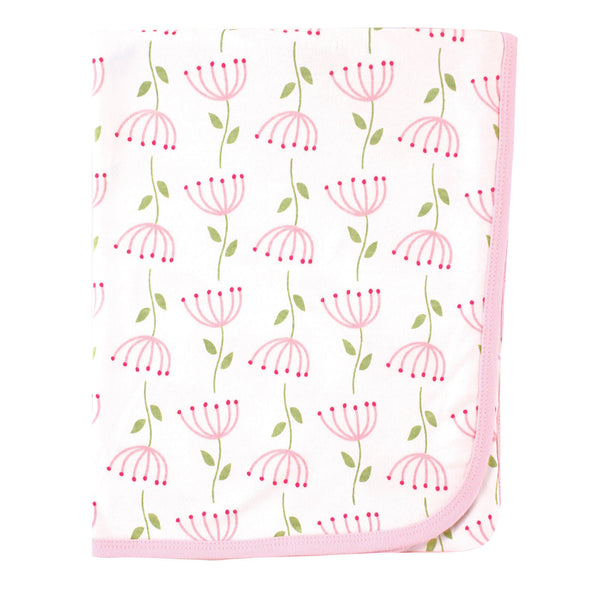 Touched by Nature Organic Cotton Swaddle, Receiving and Multi-purpose Blanket, Flower