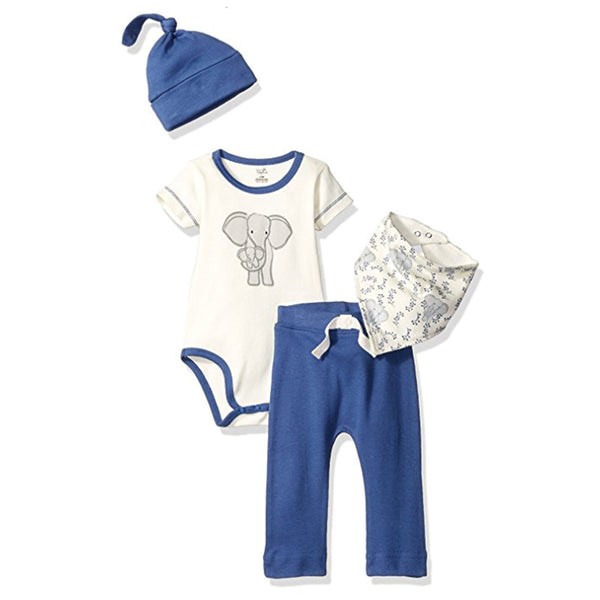 Touched by Nature Organic Cotton Layette Set 4-Piece, Elephant