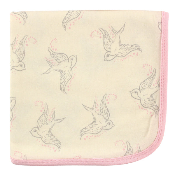 Touched by Nature Organic Cotton Swaddle, Receiving and Multi-purpose Blanket, Bird