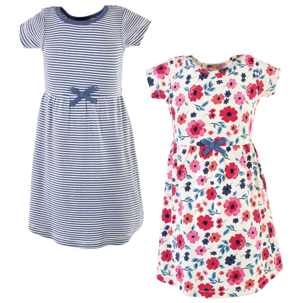 Touched by Nature Organic Cotton Short-Sleeve and Long-Sleeve Dresses, Youth Garden Floral Short Sleeve