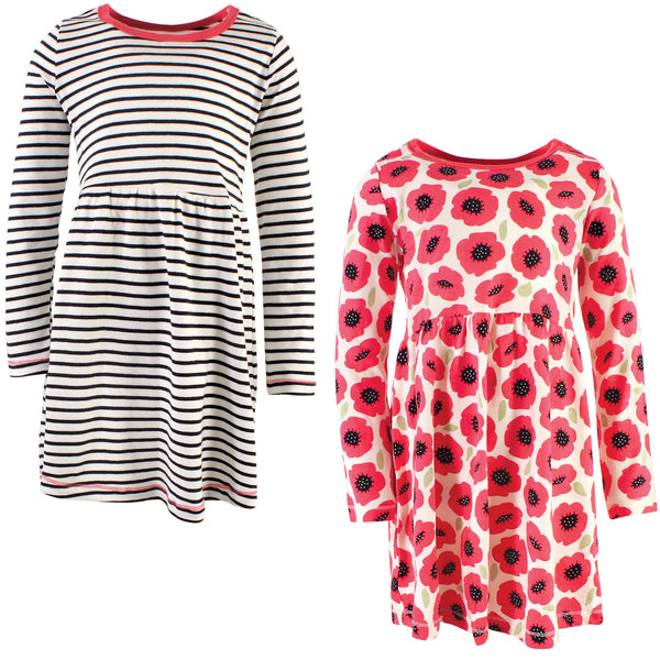 Touched by Nature Organic Cotton Short-Sleeve and Long-Sleeve Dresses, Youth Poppy Long Sleeve