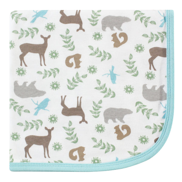 Touched by Nature Organic Cotton Swaddle, Receiving and Multi-purpose Blanket, Forest