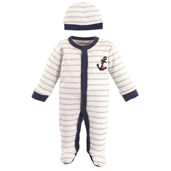 Luvable Friends Cotton Preemie Sleep and Play and Cap, Anchor