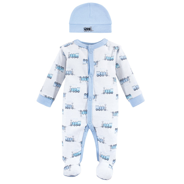 Luvable Friends Cotton Preemie Sleep and Play and Cap, Train
