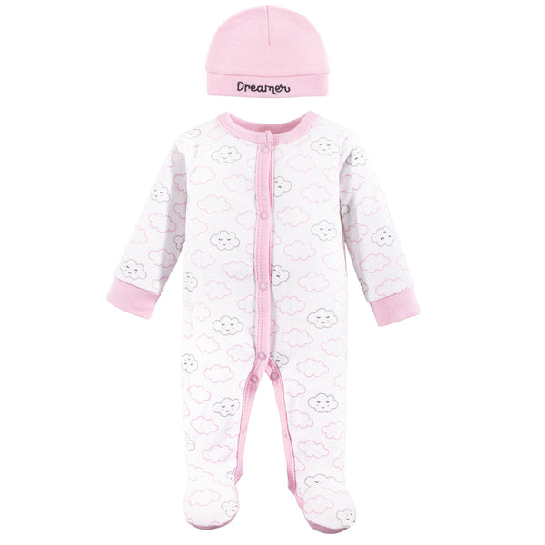 Luvable Friends Cotton Preemie Sleep and Play and Cap, Girl Cloud