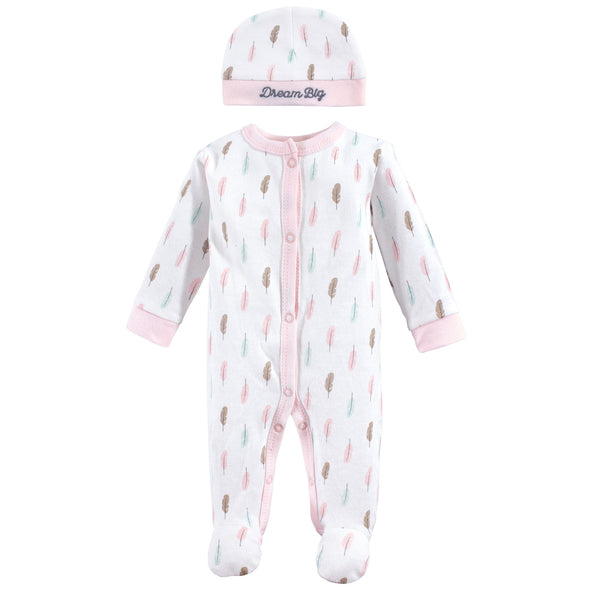 Luvable Friends Cotton Preemie Sleep and Play and Cap, Feathers