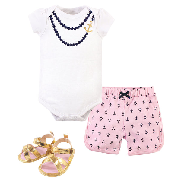 Little Treasure Cotton Bodysuit, Pant and Shoe Set, Anchor Necklace