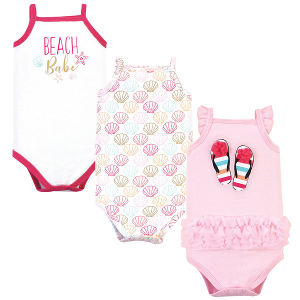 Little Treasure Cotton Bodysuits, Flip Flops