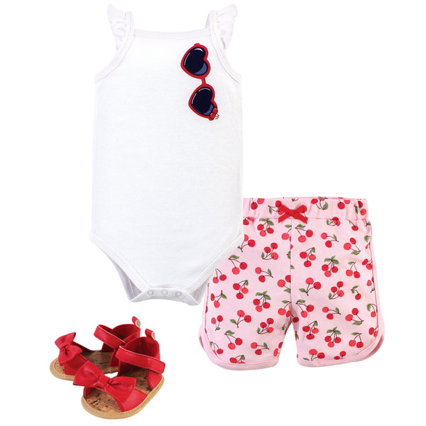 Little Treasure Cotton Bodysuit, Pant and Shoe Set, Cherries